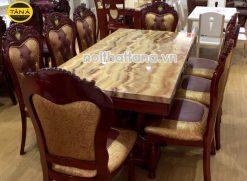 Bộ bàn ăn mặt đá 8 ghế sồi nhập khẩu cao cấp